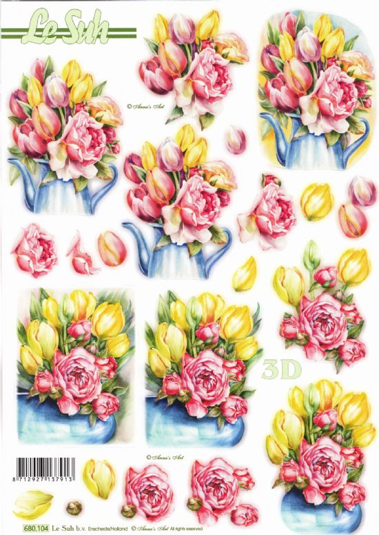Tulips & Spring Flowers Die Cut 3d Decoupage Sheet From Le Suh - NO CUTTING